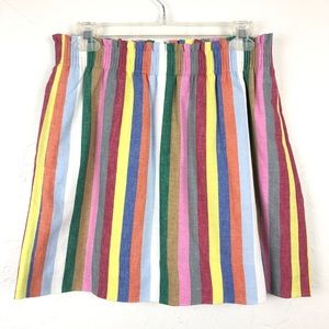 J. CREW Colorful Striped Linen Blend Mini Skirt